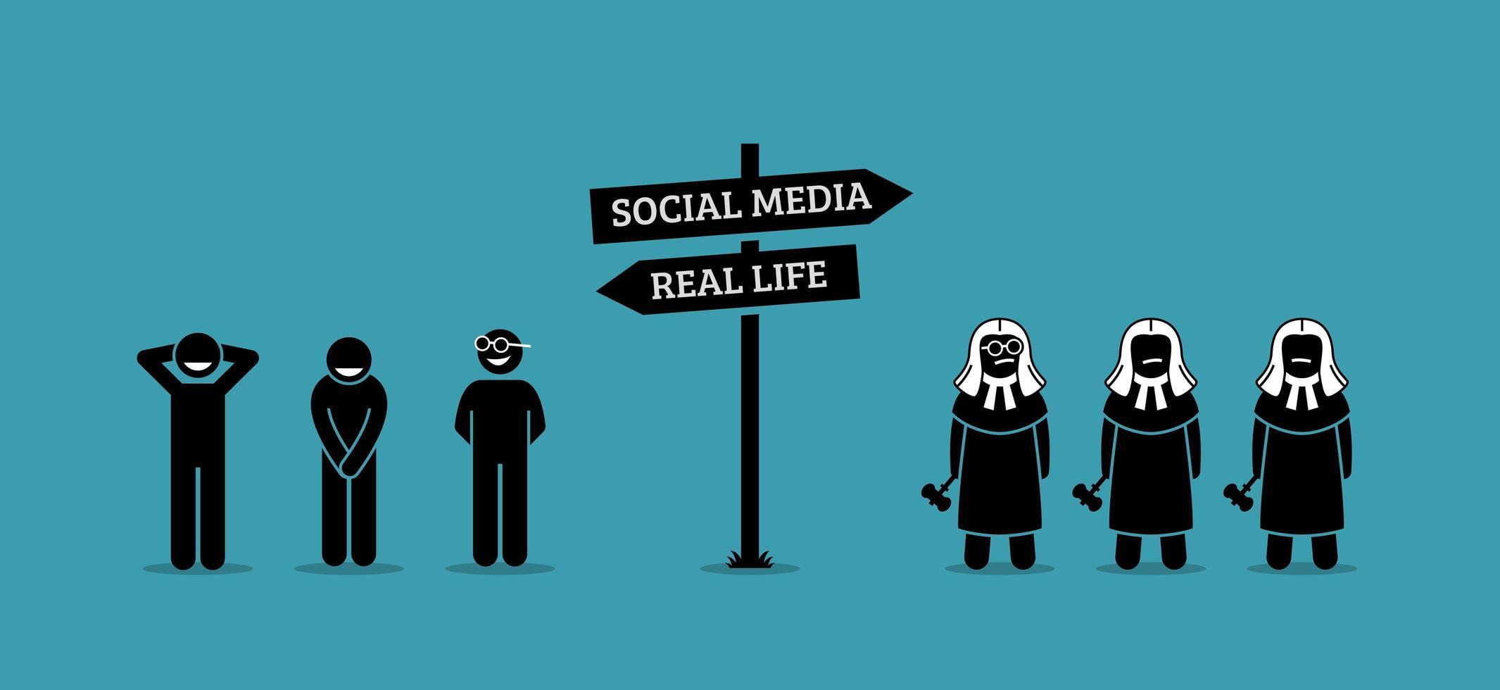 a diferença entre os comportamentos humanos na vida real e nos meios de comunicação sociais. vetor