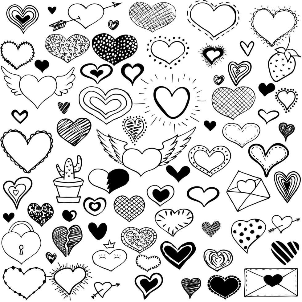 coleção doodle coração. coleção de adesivos românticos. amo esboços simples do tema para web design ou produtos impressos. vetor