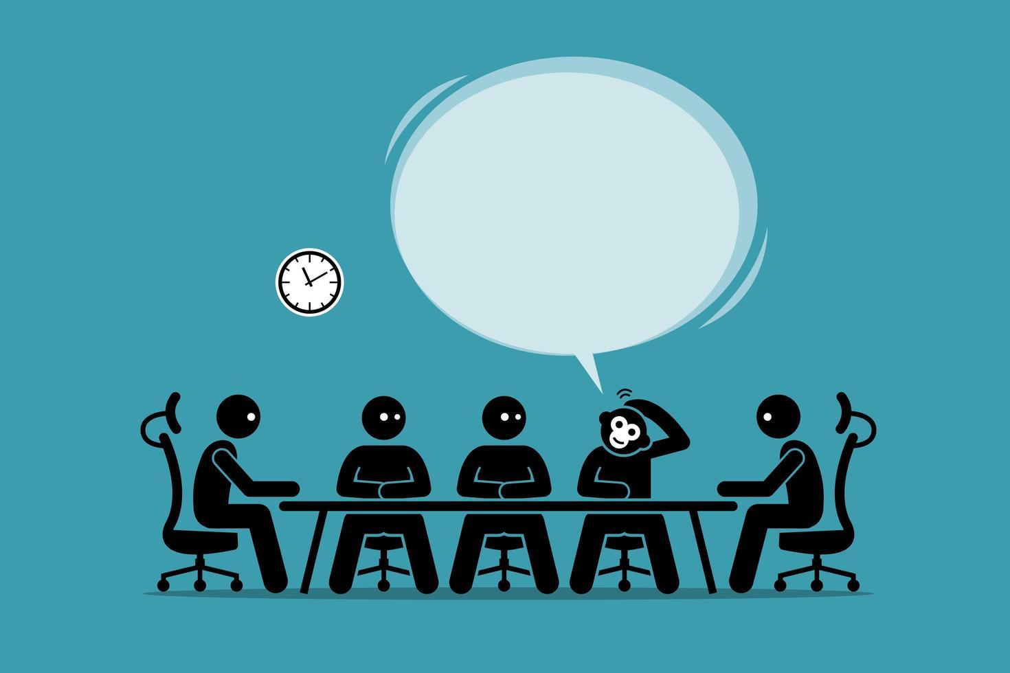 empresário macaco engraçado falando e sugerindo sua ideia em uma reunião de negócios com seres humanos. vetor