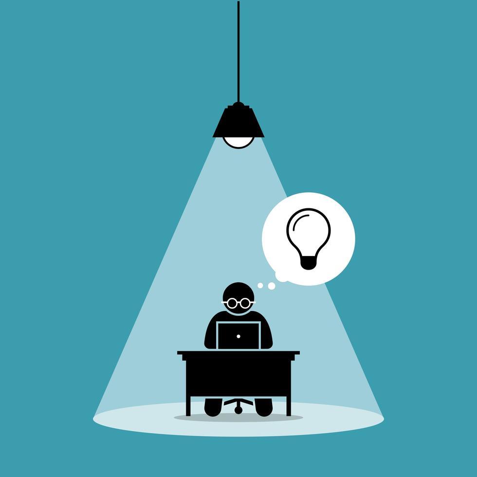 boneco de palito concentrado e focado em seu trabalho no computador e pensando em uma nova ideia sob um holofote. vetor
