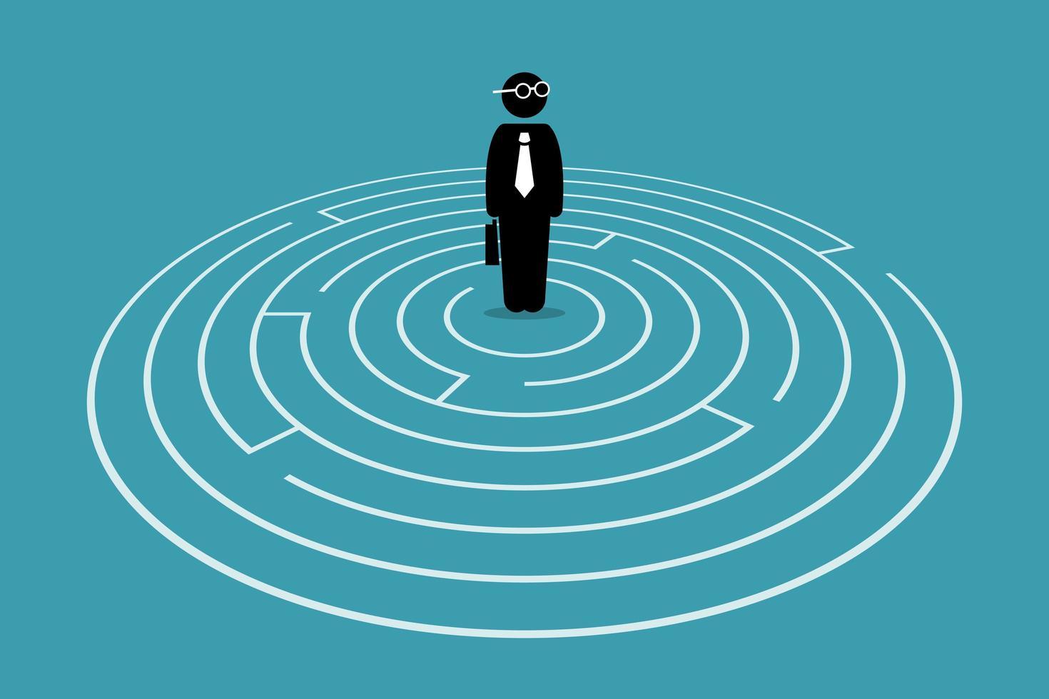 empresário de pé no centro de um labirinto. vetor