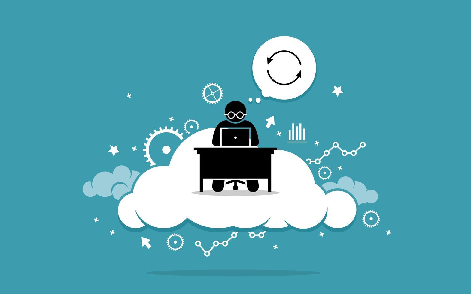 homem que trabalha com computador na nuvem. vetor