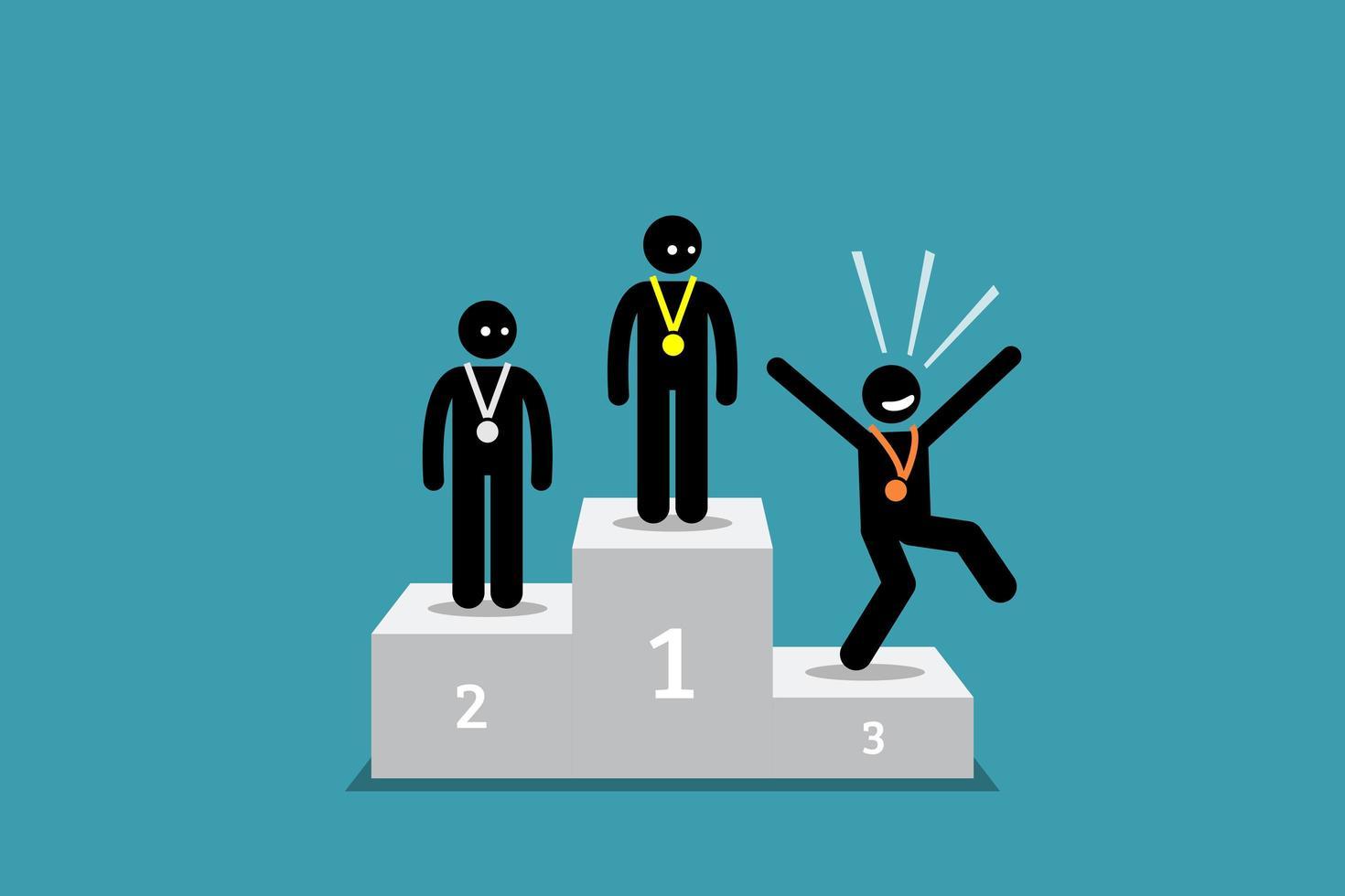 a figura de palito pessoa em terceiro lugar é mais feliz do que as pessoas em primeiro e segundo lugar. vetor