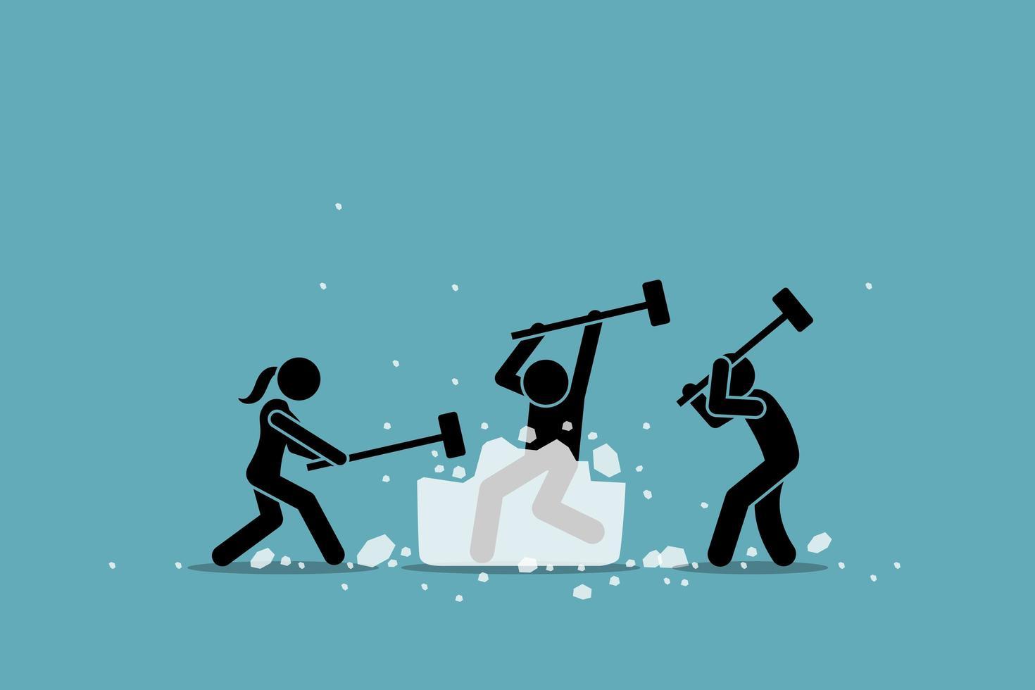 atividade, jogo e evento para quebrar o gelo ou quebra-gelo. vetor