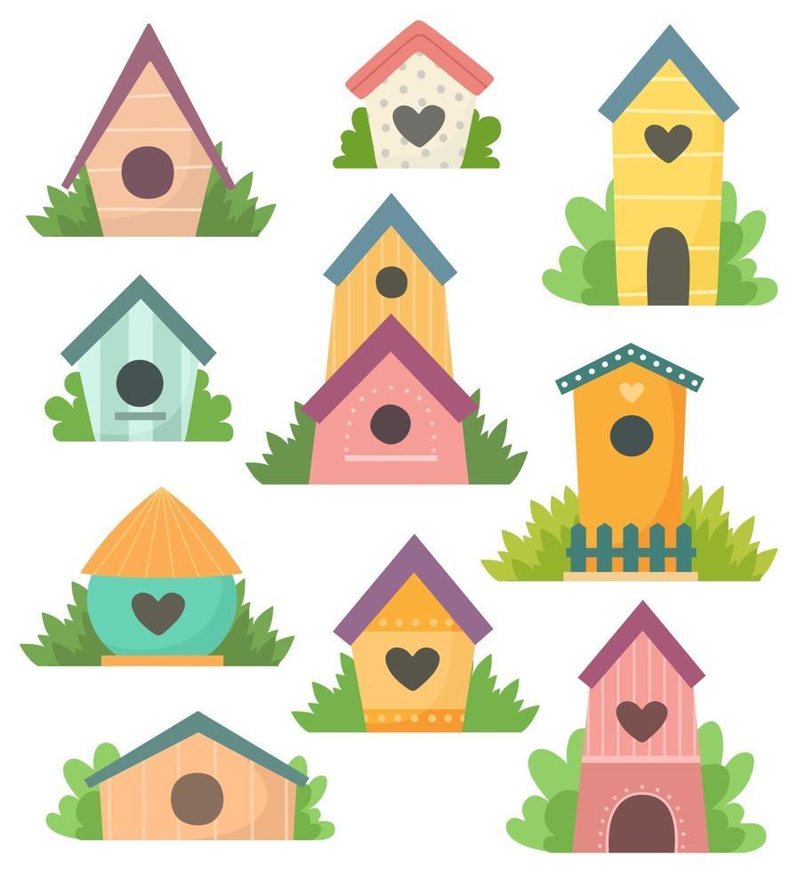 coleção de giros birdhouses. vetor isolado em um fundo branco em estilo cartoon.