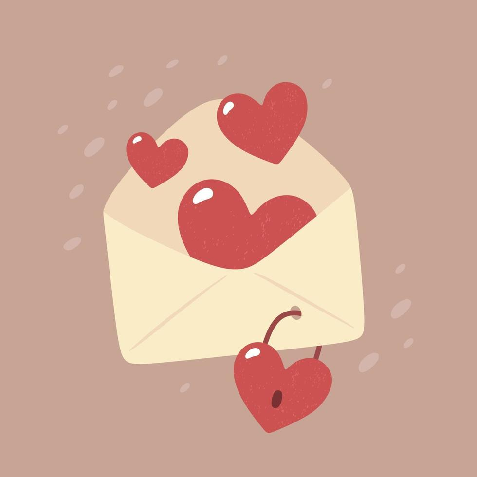 dia dos namorados - cartão de vetor em estilo simples. Casamento. envelope com corações na fechadura