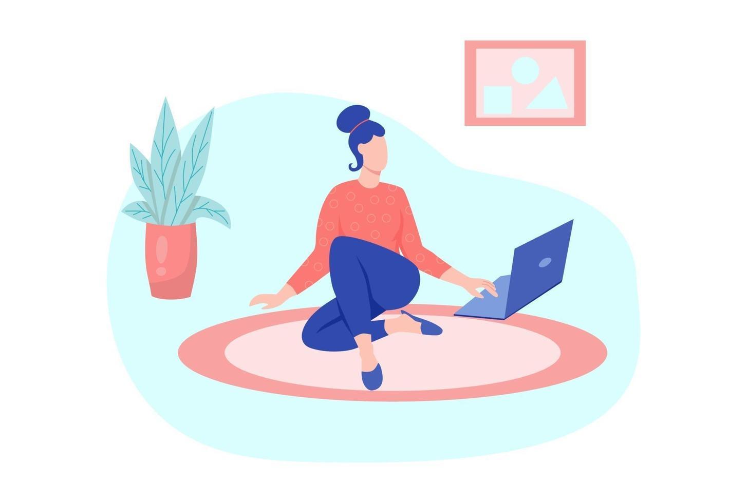 uma jovem está trabalhando em um laptop vetor