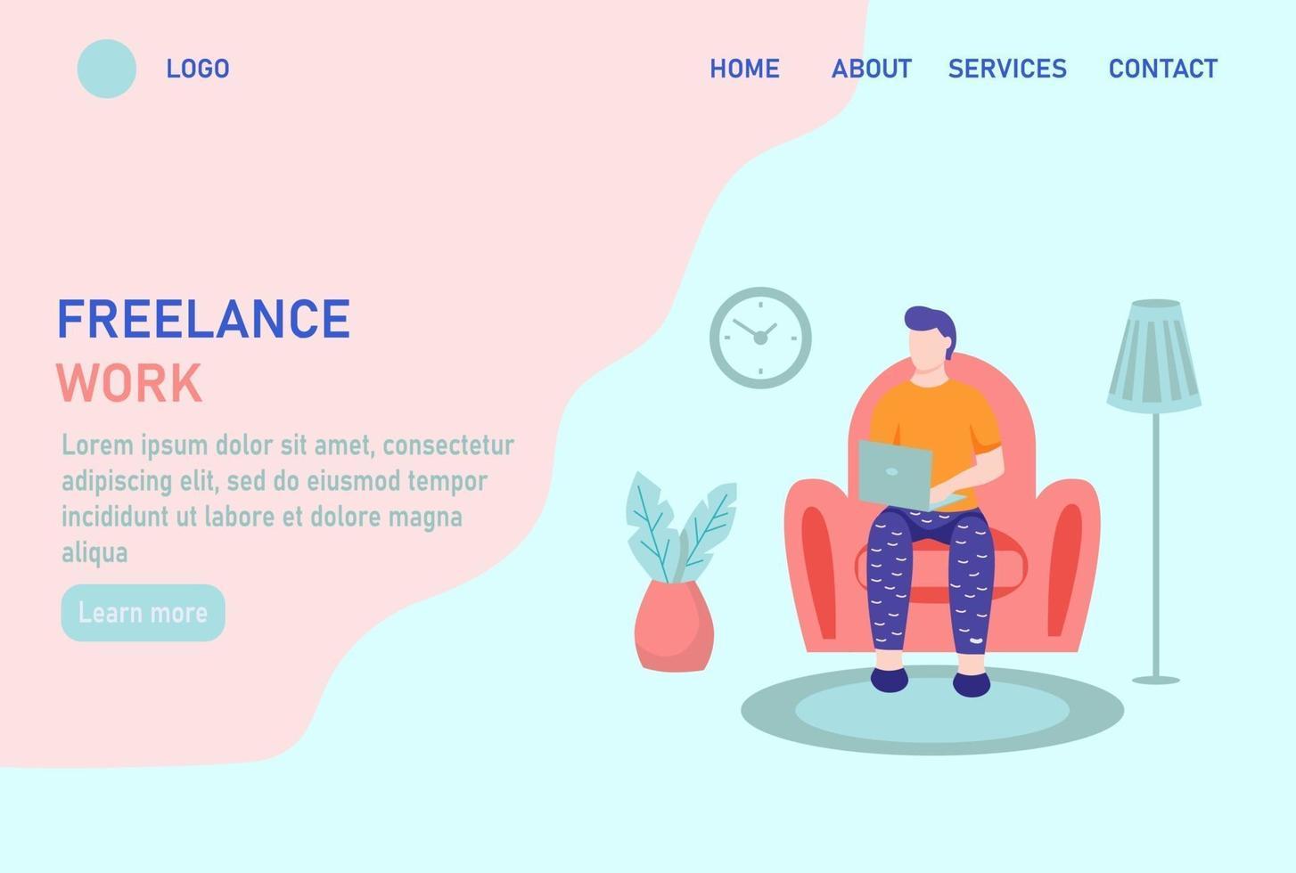 página inicial do site de trabalho freelance ou modelo da página de destino vetor