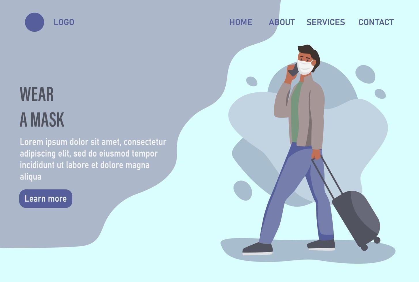 usar uma máscara de página inicial de site ou modelo de página de destino vetor