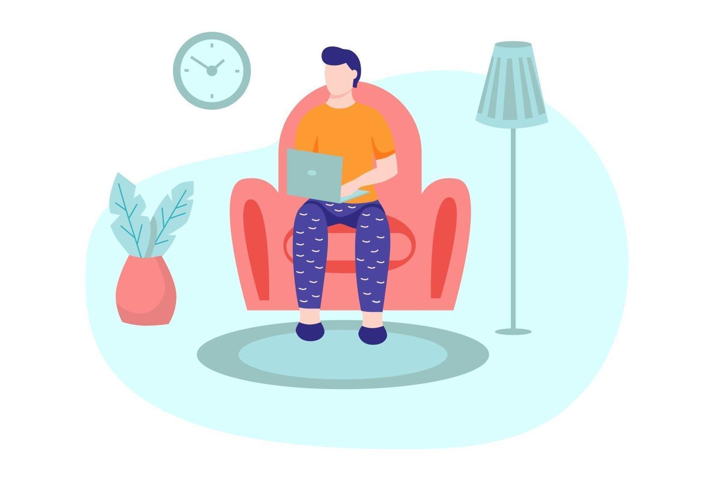 um jovem está trabalhando em um laptop e sentado no sofá vetor