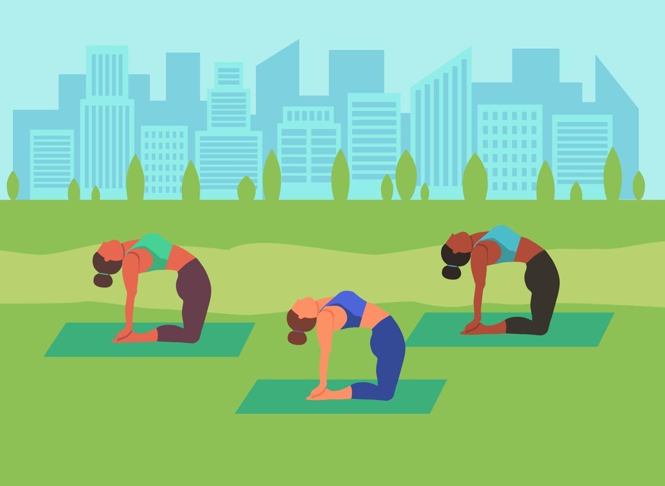mulheres jovens fazendo ioga ao ar livre vetor