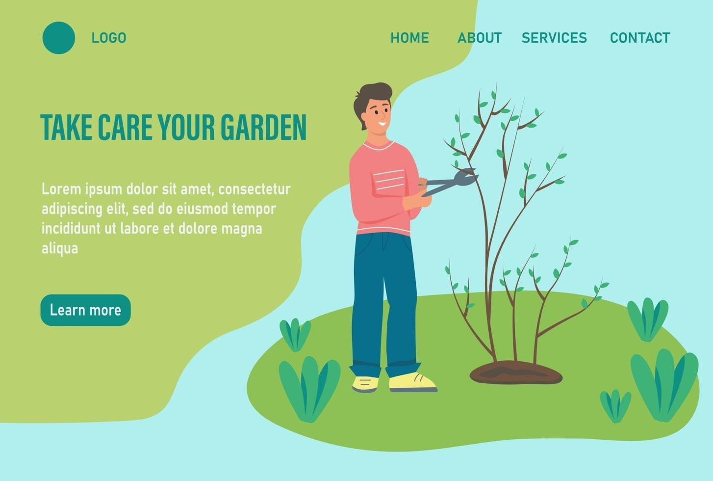 modelo de página da web de destino de jardinagem vetor