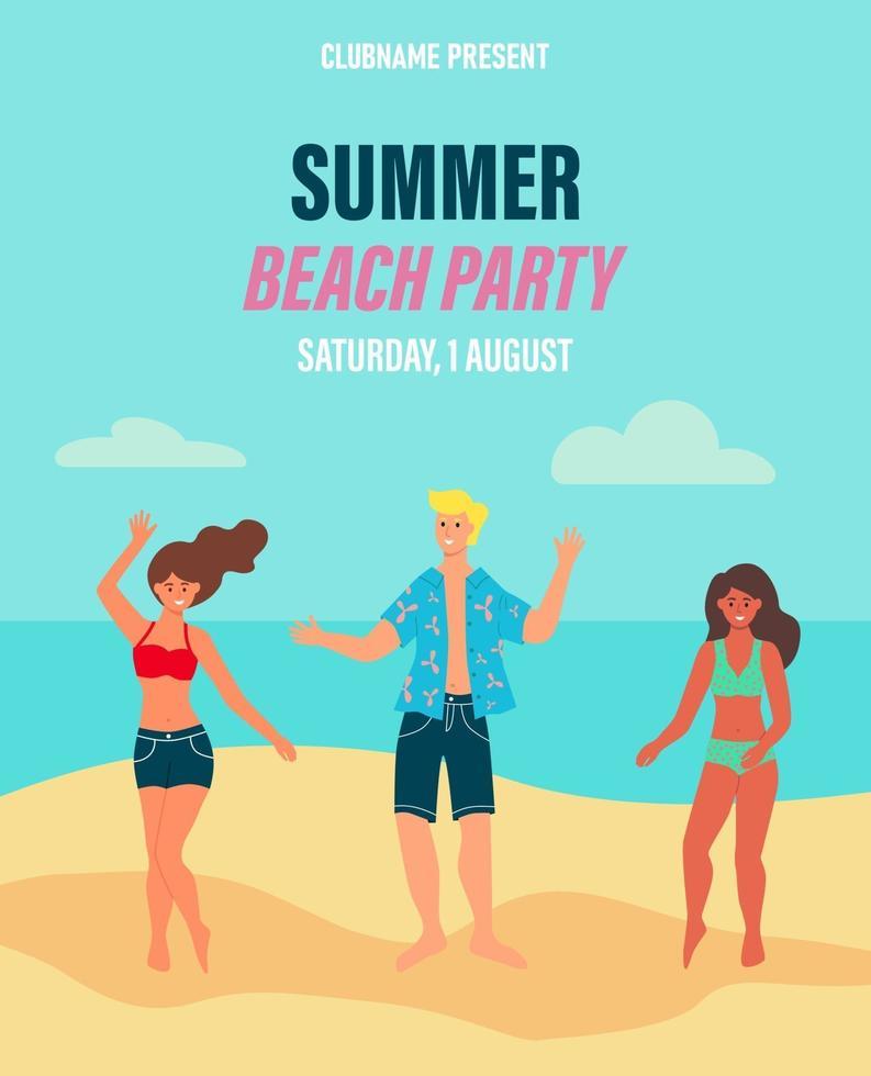 festa de praia de panfleto de publicidade. os jovens se divertem na praia. conceito, banner, cartão postal. ilustração em vetor plana dos desenhos animados.