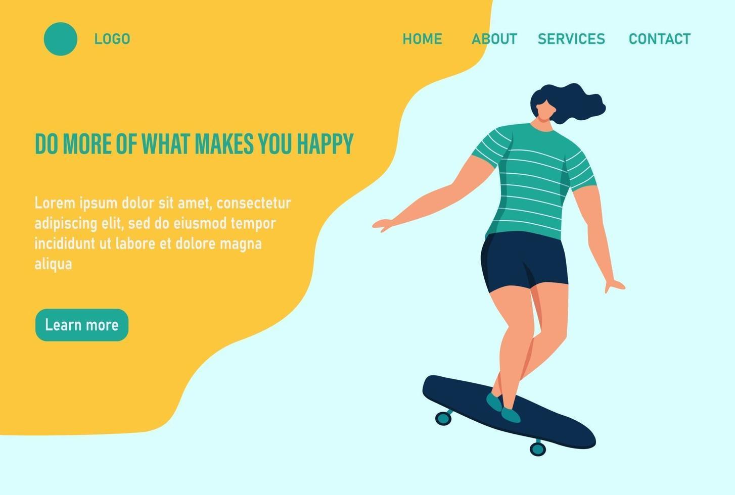 uma jovem ou adolescente anda de skate. faça mais o que te faz feliz. modelo de página da web de destino da página inicial do site. ilustração vetorial plana. vetor