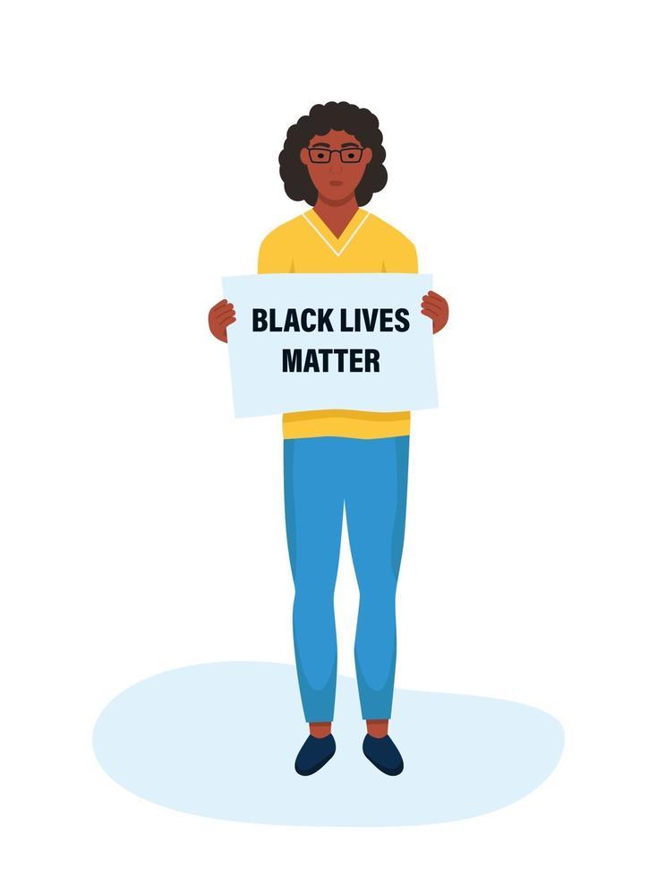 vidas negras importam. mulher negra segurando um cartaz. conceito de desigualdade racial vetor