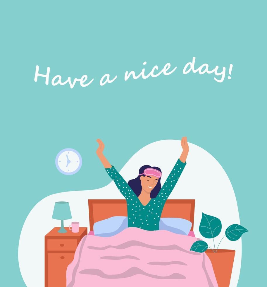 tenha um bom dia. cartão postal. uma jovem acorda. o conceito de vida cotidiana, lazer cotidiano e atividades de trabalho. ilustração em vetor plana dos desenhos animados.