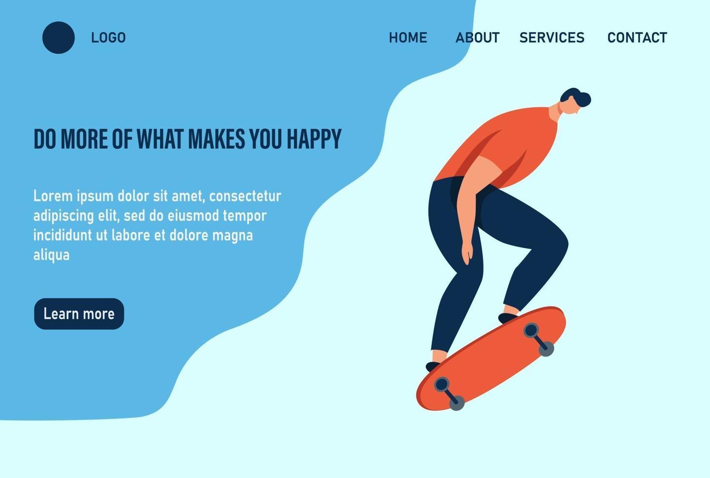 um jovem ou adolescente anda de skate. faça mais o que te faz feliz. modelo de página da web de destino da página inicial do site. ilustração vetorial plana. vetor
