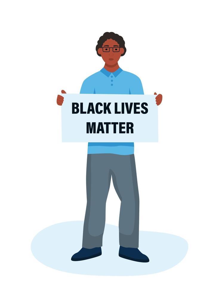 vidas negras importam. homem negro segurando um cartaz. conceito de desigualdade racial vetor