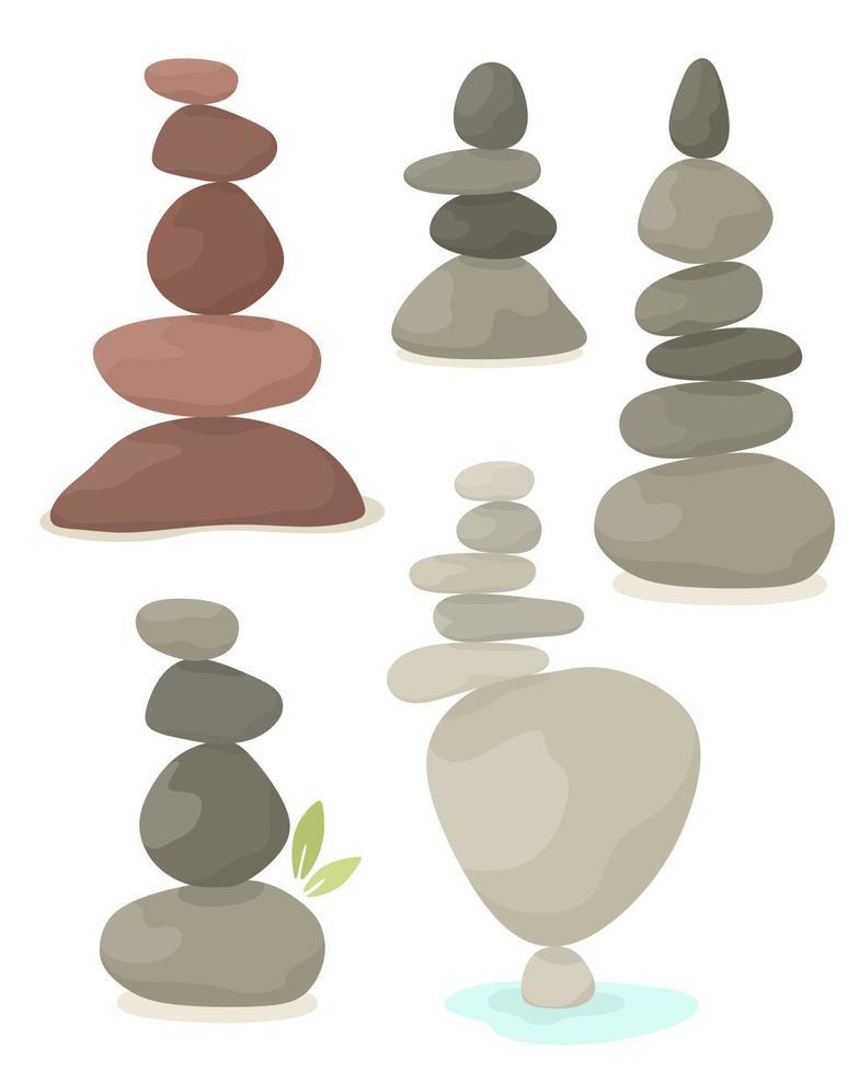 conjunto de pirâmide de equilíbrio de pedras, harmonia, equilíbrio. ilustração vetorial em estilo simples. vetor