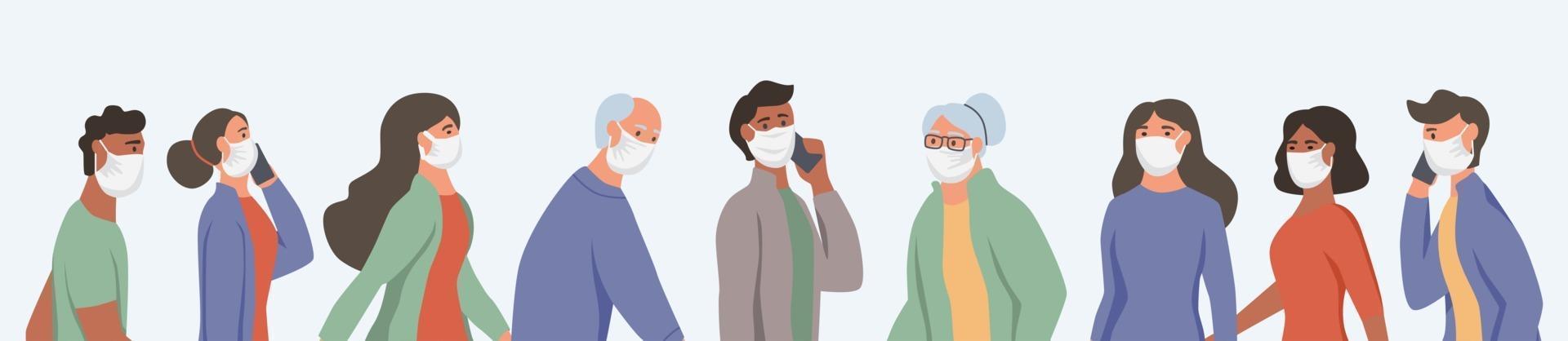 diversas pessoas usando máscaras faciais vetor