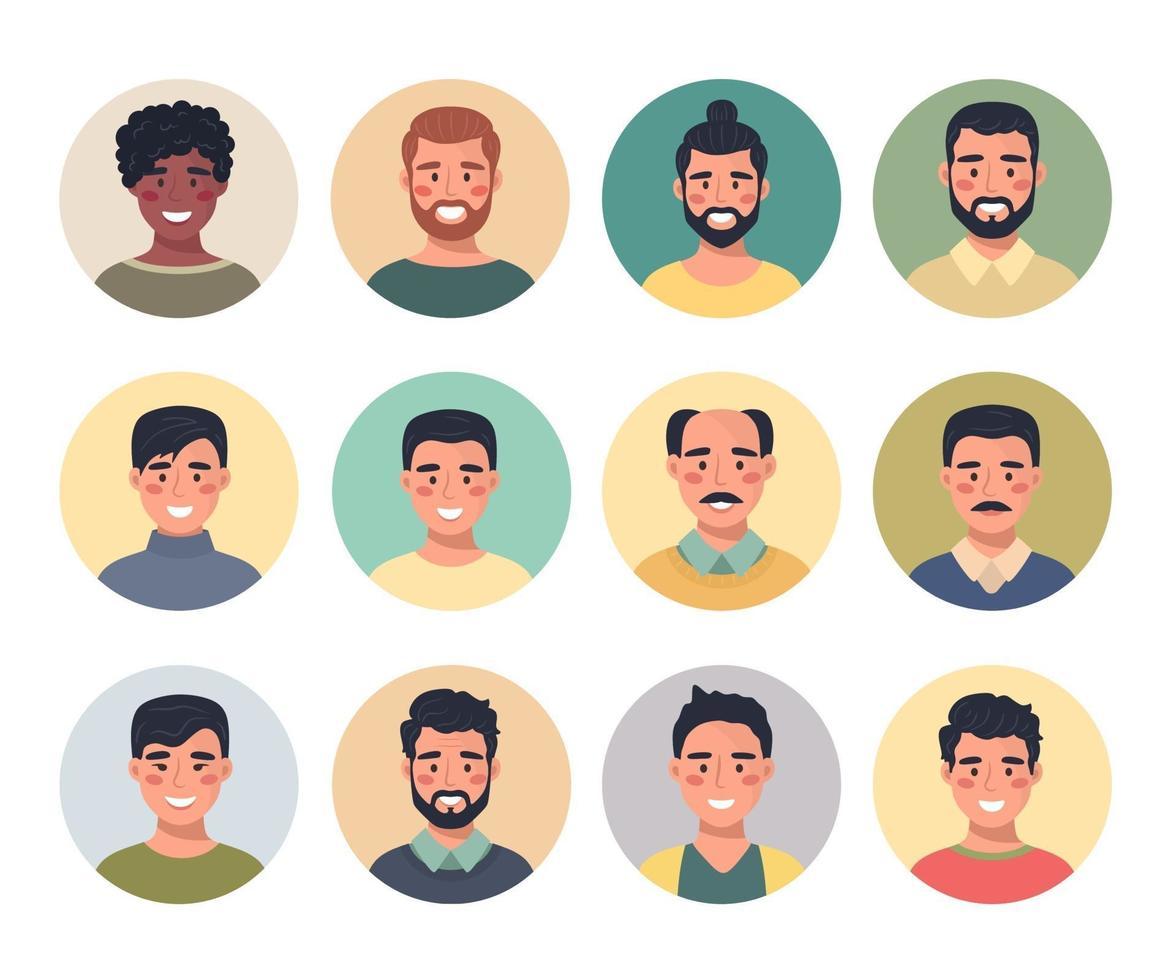 coleção de retratos de avatares masculinos em um ícone redondo, comunicação, pessoas, web, feedback, bate-papo. ilustração vetorial em um estilo simples. vetor