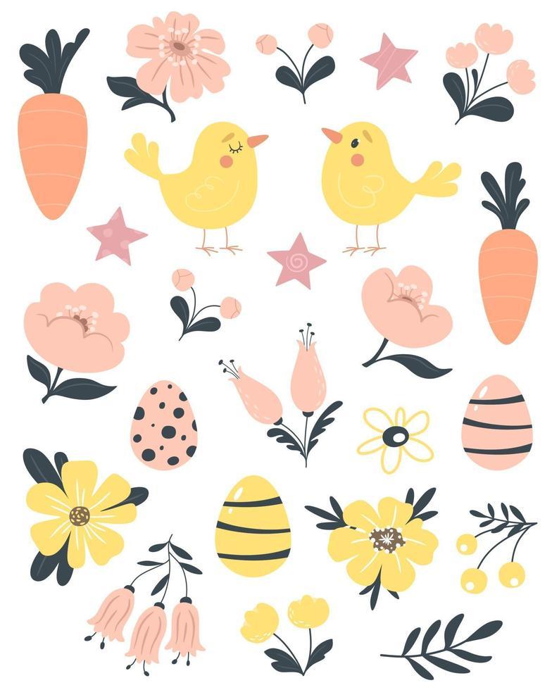 Páscoa, primavera com pássaros bonitos, flores, ovos e cenouras. vetor isolado em um fundo branco.