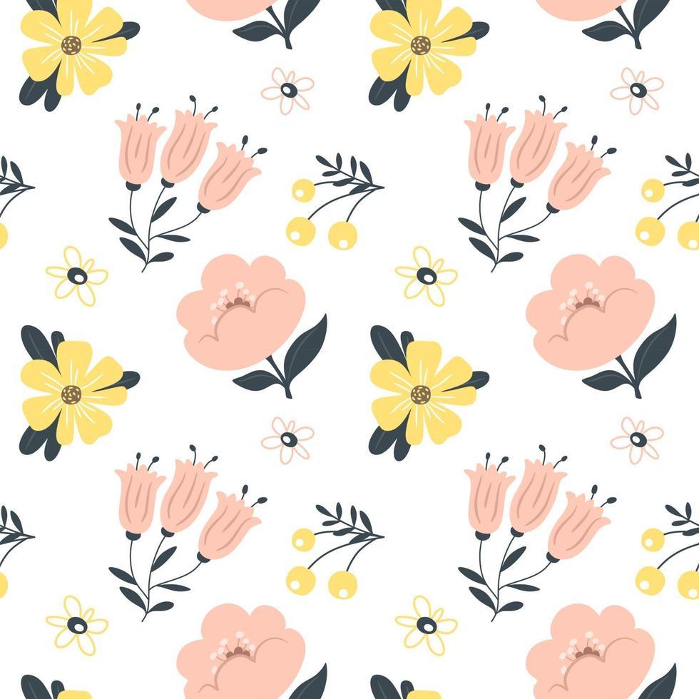 padrão de primavera sem costura com flores. ilustração vetorial. vetor