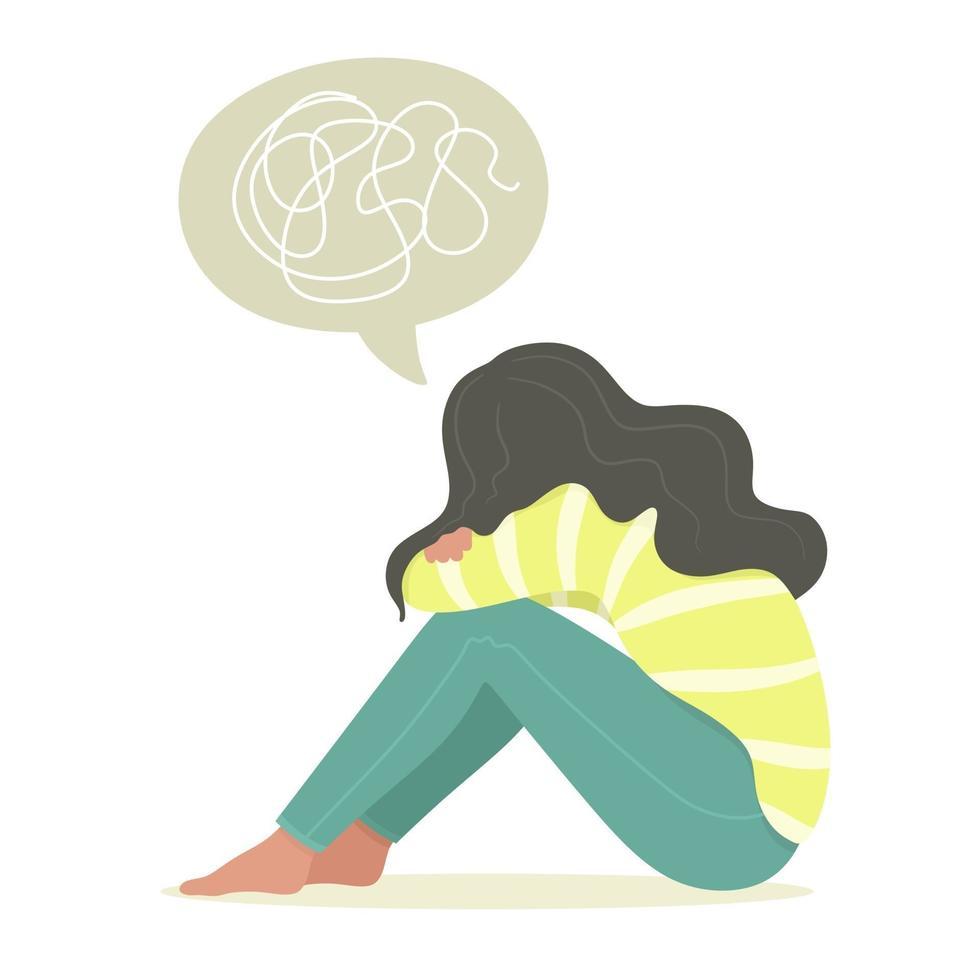 jovem sentada, adolescente, sofrendo de doença psicológica, desordem, ansiedade. ilustração vetorial em estilo simples vetor