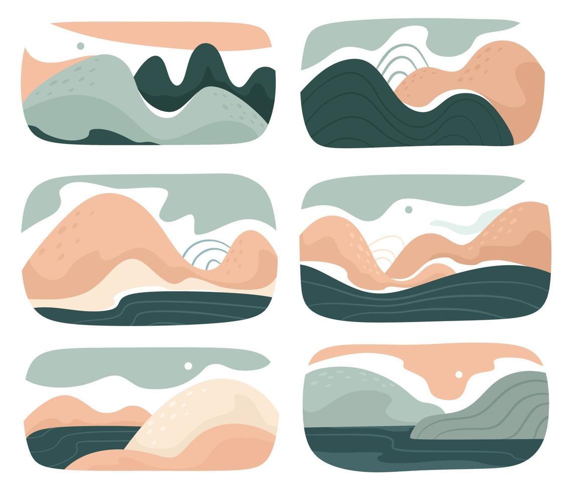 um conjunto de várias paisagens abstratas. montanhas, colinas, rios, paisagens, fundos. estilo de recorte. fundos do vetor. vetor