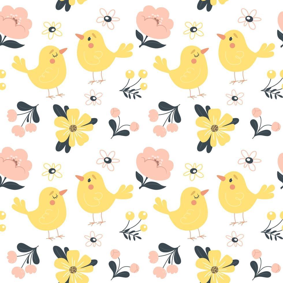 padrão de primavera sem costura com flores e pássaros bonitos. ilustração vetorial em estilo simples vetor