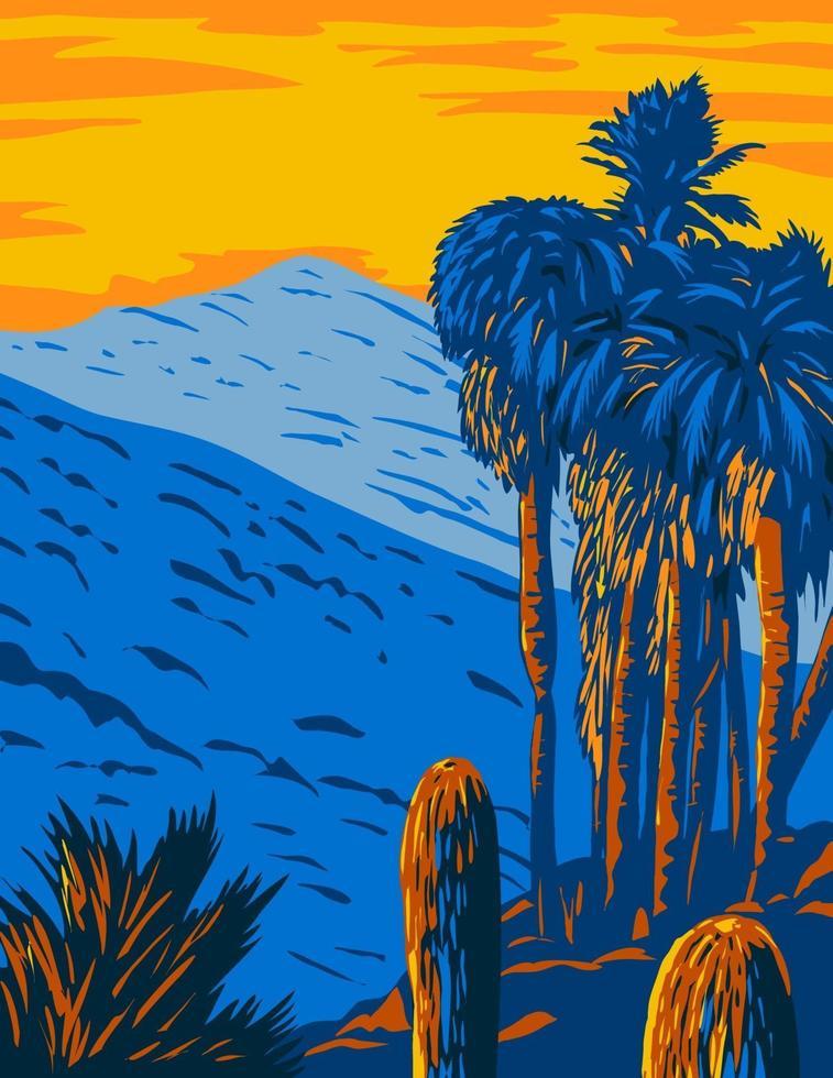 monumento nacional das montanhas santa rosa e san jacinto califórnia com as cadeias de montanhas santa rosa e san jacinto arte de pôster wpa vetor