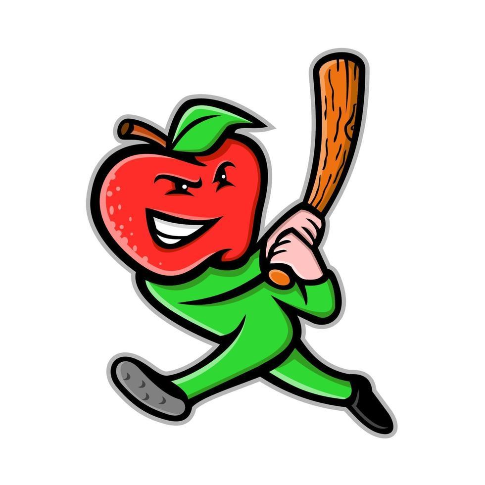 taco de beisebol para rebatidas de maçã vetor