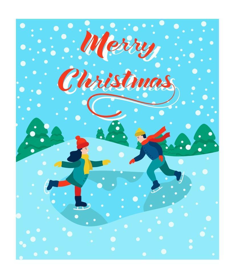 cartão de Natal. as crianças estão patinando. letras de feliz natal. ilustração vetorial. banner, pôster, modelo. vetor