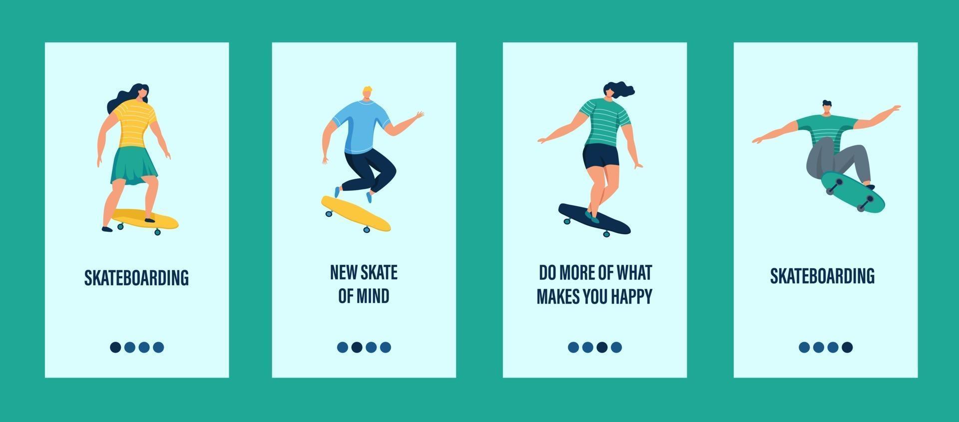 jovens andando de skate modelo de aplicativo móvel vetor