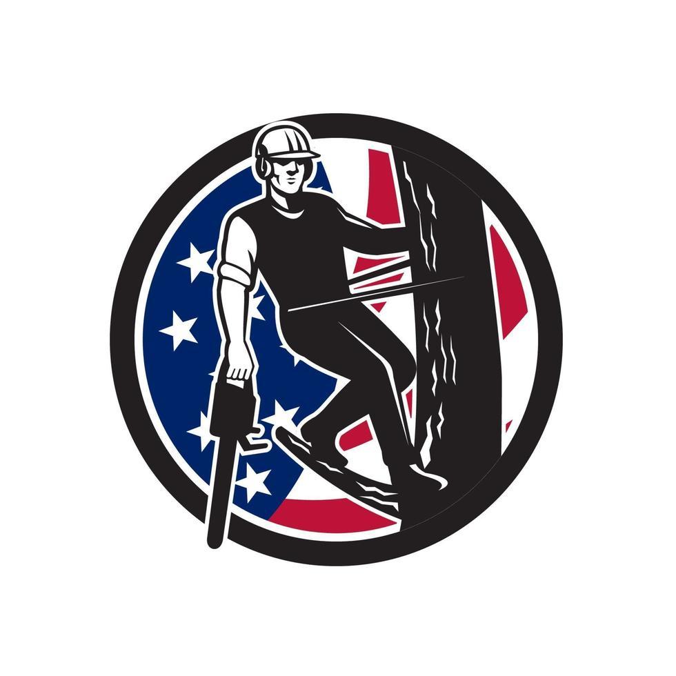 mascote da bandeira dos EUA ao lado da serra elétrica de árvore vetor