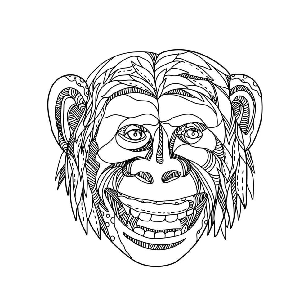 cabeça de doodle desenhada à mão de chimpanzé vetor