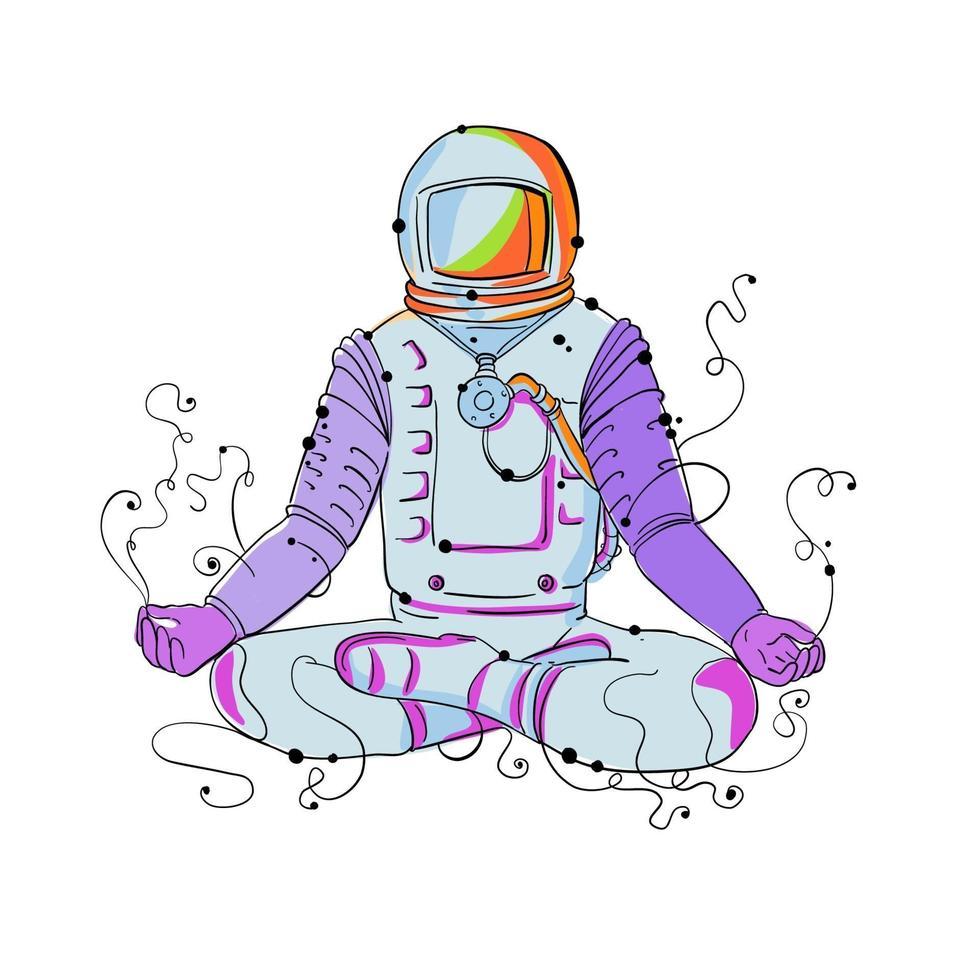 cosmonauta padmasana posição doodle vetor