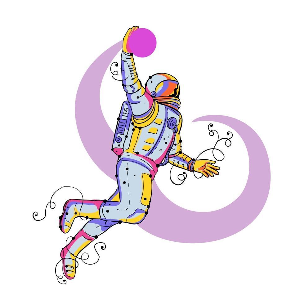 doodle de bola de mergulho de astronauta vetor