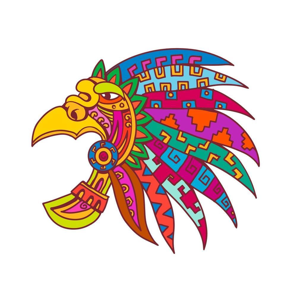cocar asteca antigo desenho de cor vetor
