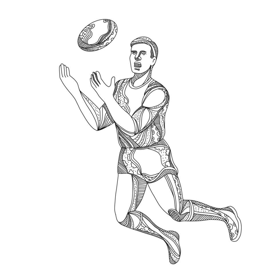 doodle de salto do jogador de futebol americano com regras australianas vetor