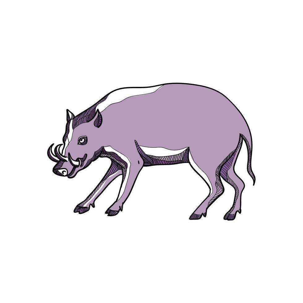 desenho lateral de babirusa vetor