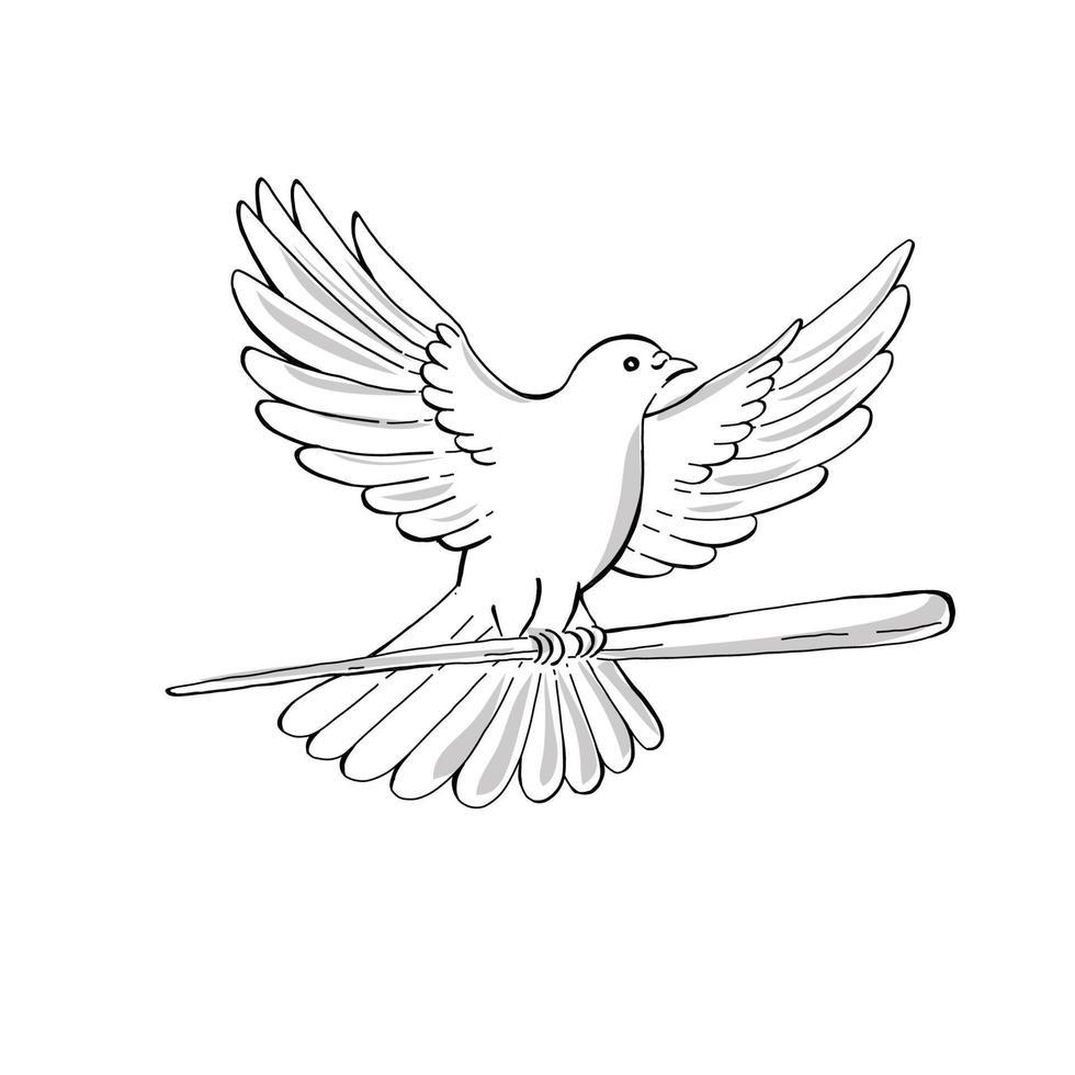 pombo ou pomba voando com desenho de cana vetor