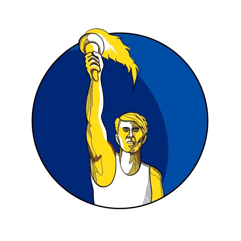 atleta levantando tocha flamejante vetor