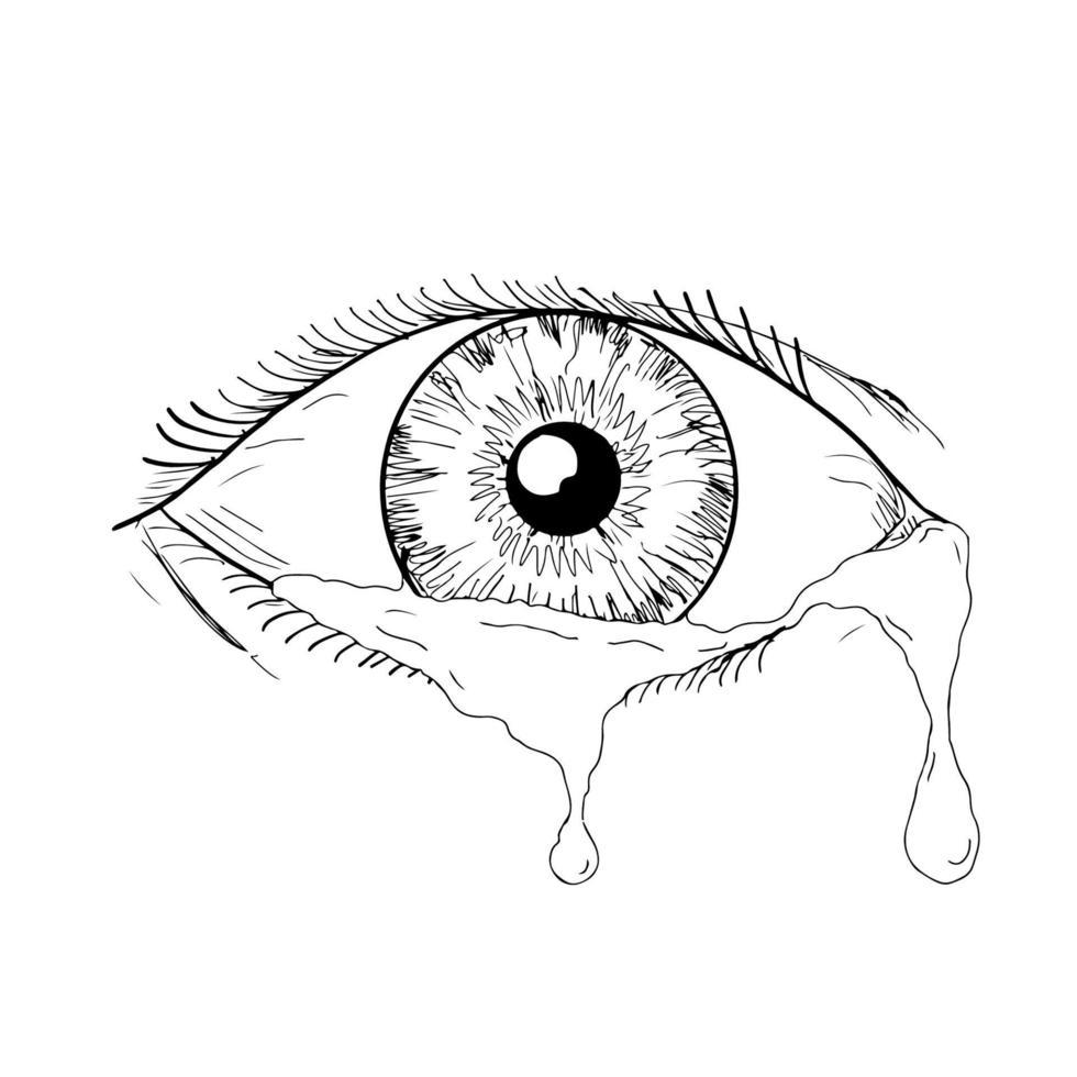 olho humano chorando lágrimas fluindo desenho vetor