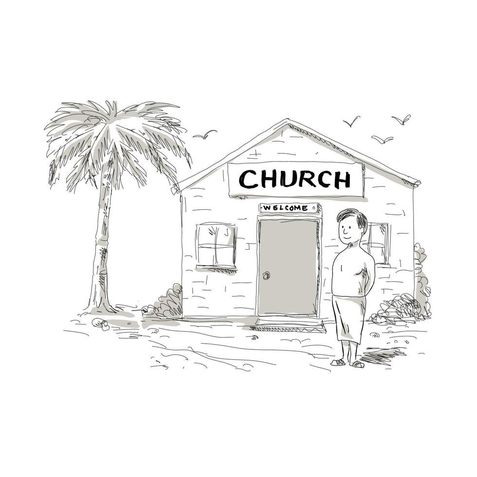 desenho animado menino samoano ao lado da igreja vetor