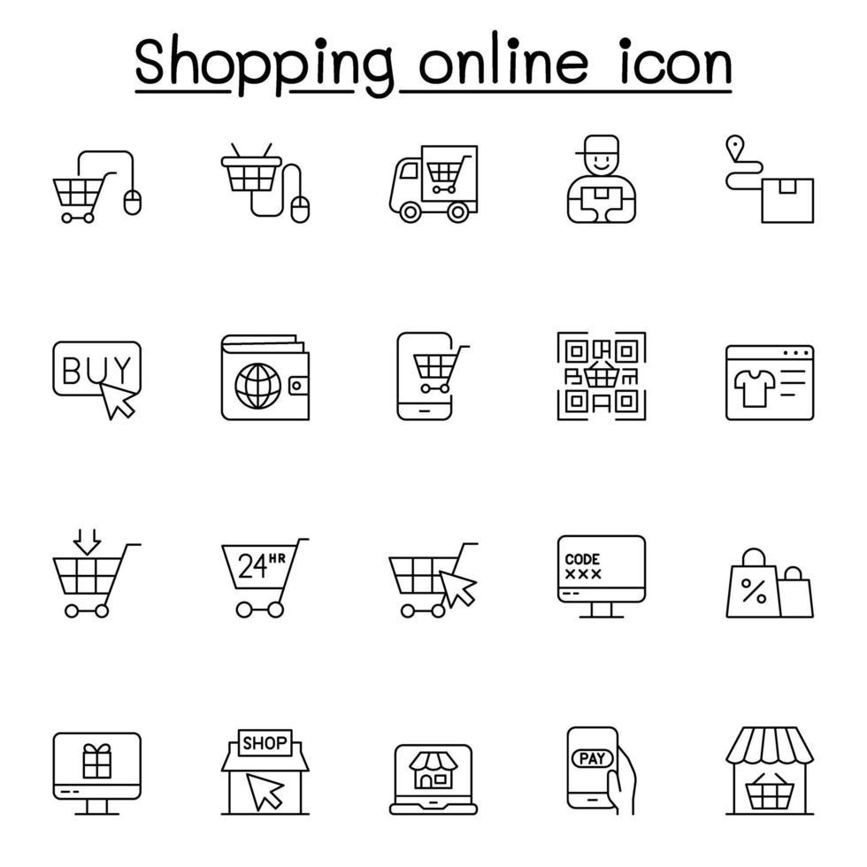 ícone de compras online em estilo de linha fina vetor