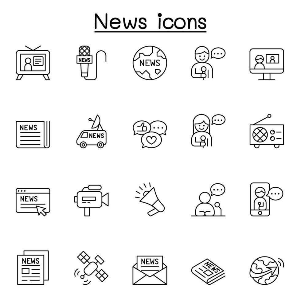 ícones de notícias em estilo de linha fina vetor