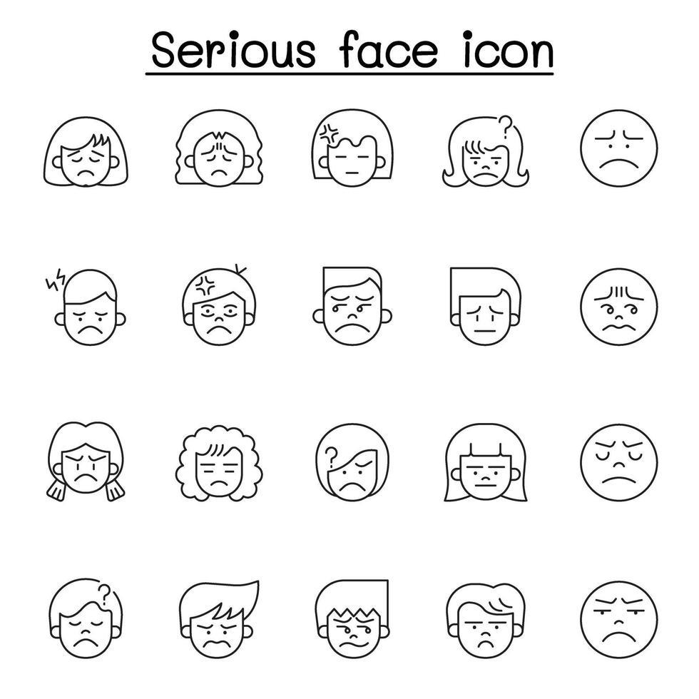 ícone de rosto sério definido em estilo de linha fina vetor