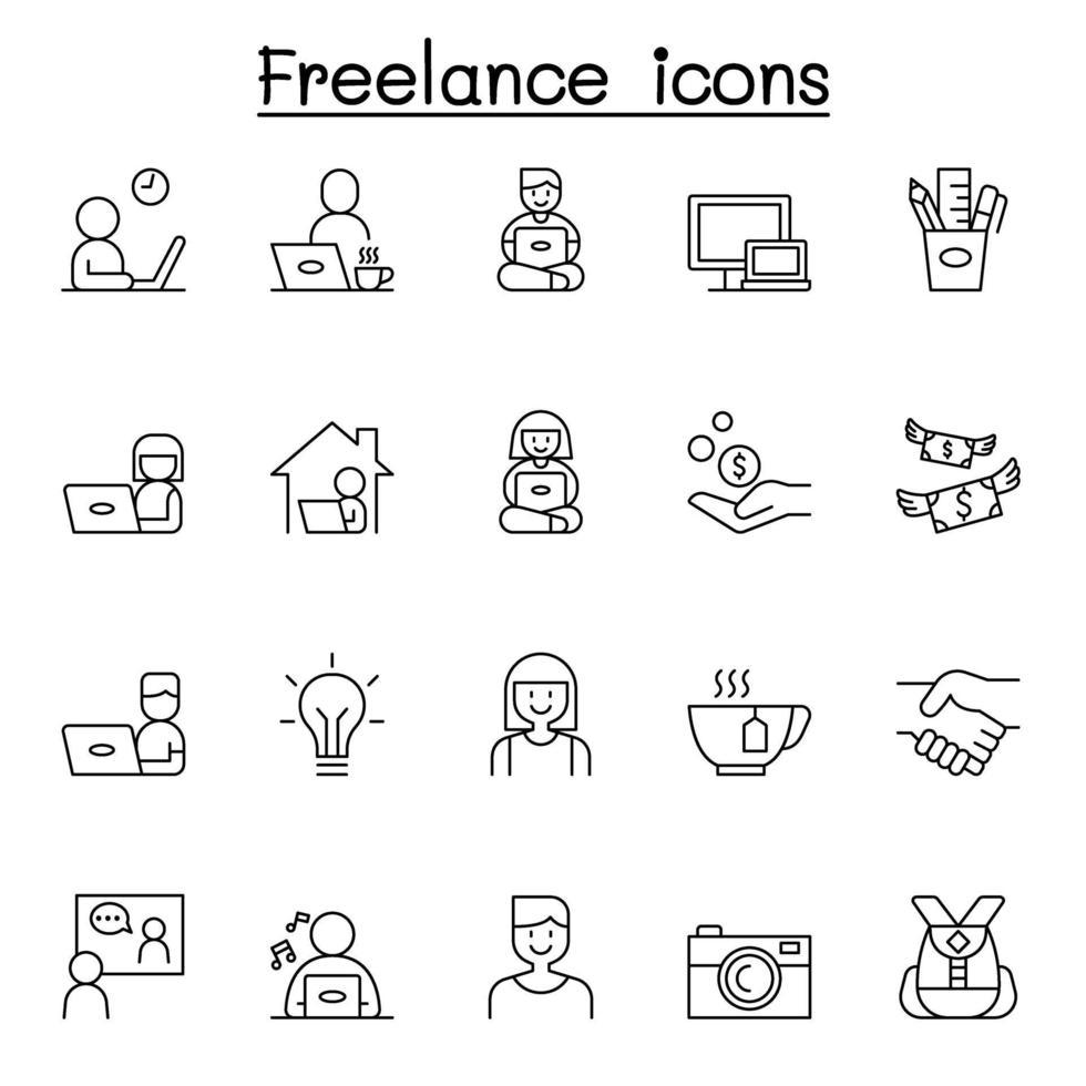 ícones freelance definidos em estilo de linha fina vetor