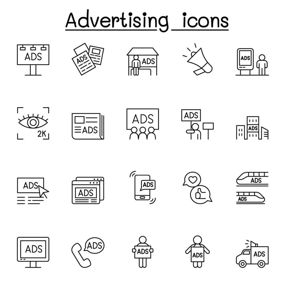ícones de publicidade definidos em estilo de linha fina vetor
